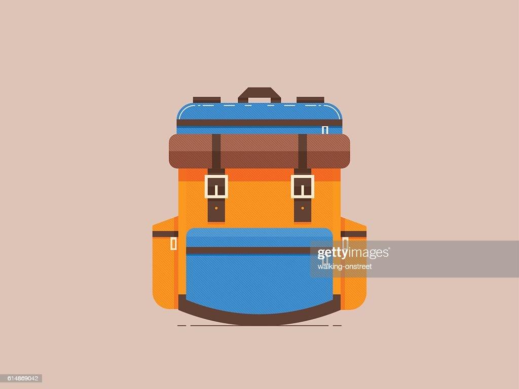 Adventure backpack, Let's go travel, flat design