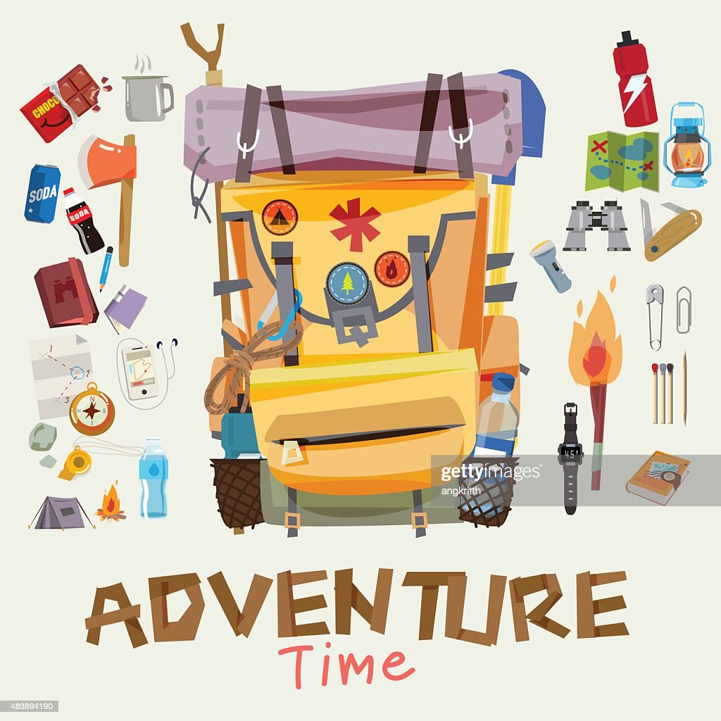 adventure backpack with traveller objects in round frame. advent
