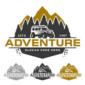 Adventure badge or emblem, mountain peak forest and off road car