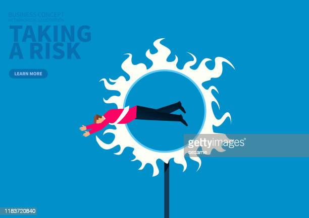 adventure, businessman jumps over the ring of fire - plastic hoop stock illustrations