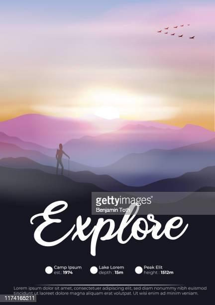 abenteuer-flyer mit wanderer in den bergen und gänse fliegen in formation im morgengrauen - horizont stock-grafiken, -clipart, -cartoons und -symbole