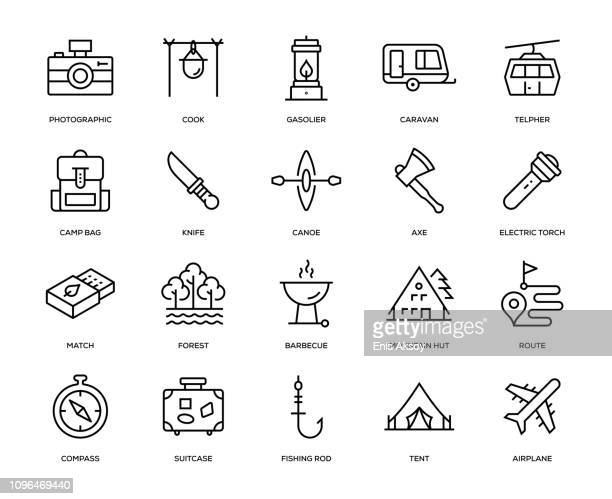 adventure icon set - flashlight stock illustrations, clip art, cartoons, & icons
