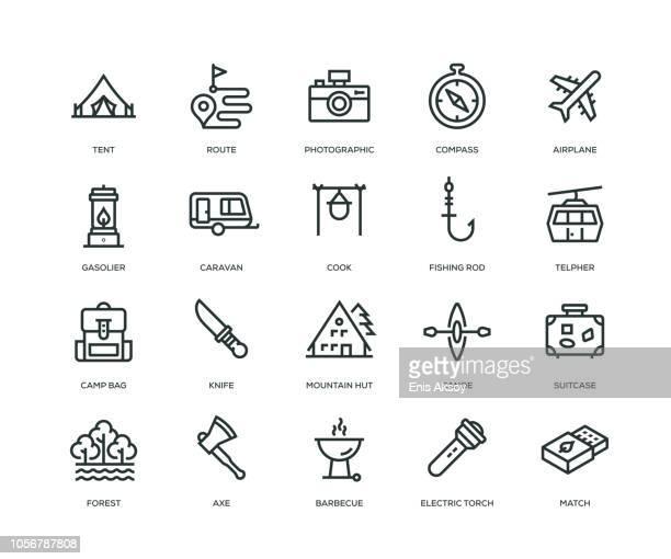 illustrations, cliparts, dessins animés et icônes de icônes - ligne série d'aventure - monochrome image teintée