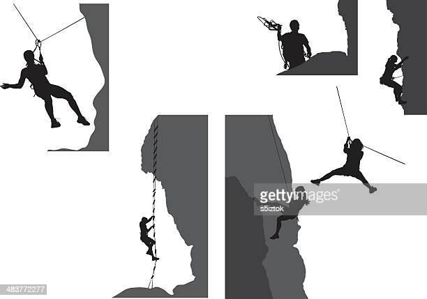 adventure pack - rock climbing stock illustrations, clip art, cartoons, & icons