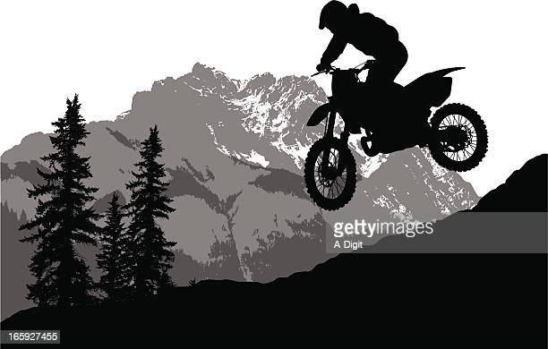 adventure sports vector silhouette - motocross stock illustrations, clip art, cartoons, & icons
