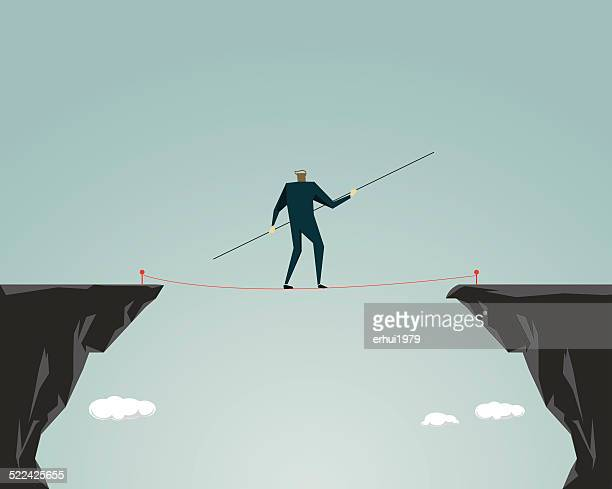 adversity, challenge, tightrope - steel cable stock illustrations
