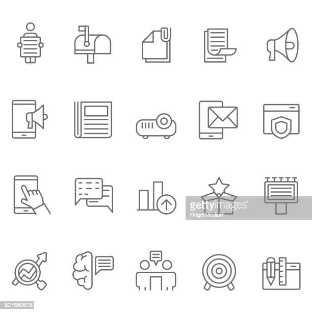 advertisement and media icon set - releasing stock illustrations