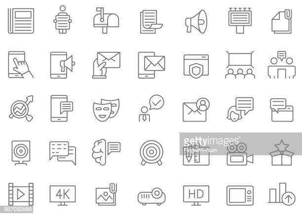 advertisement and media icon set - commercial sign stock illustrations