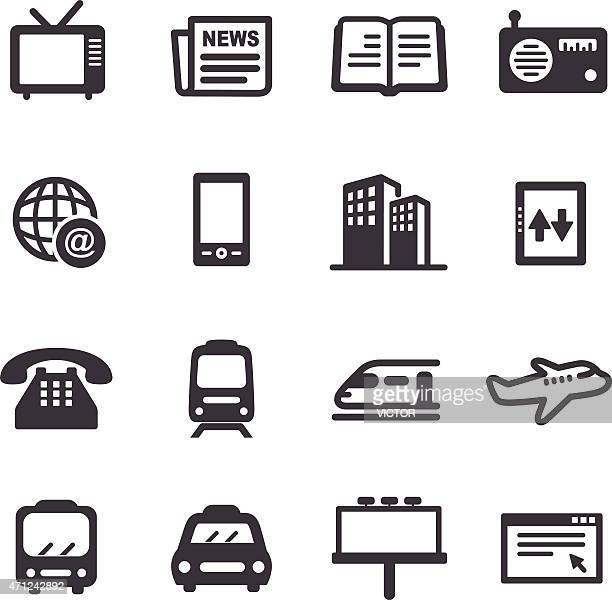 advertising and media icons - acme series - television industry stock illustrations