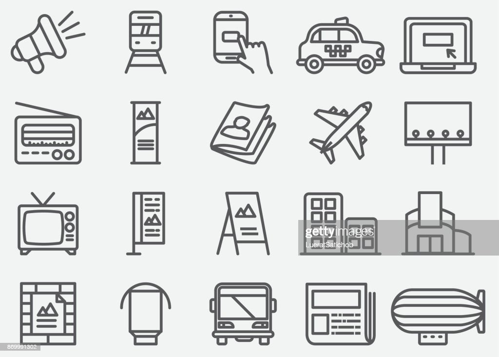 Advertising and Media Line Icons : stock illustration