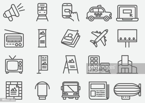 advertising and media line icons - banner sign stock illustrations