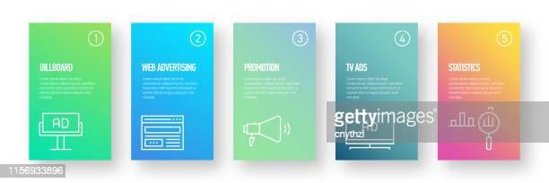 広告とプロモーションインフォグラフィックデザイン - モダンカラフルなグラデーションスタイル - 広告点のイラスト素材/クリップアート素材/マンガ素材/アイコン素材