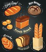 Advertising bakery on the chalkboard. Set of bakery products. Menu. Long loaf, rye bread, baguette, rolls, white bread, sliced bread, brioche. Vector illustration