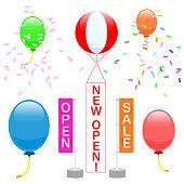 Advertising balloons · Ramping. illustration material. english txt ver.