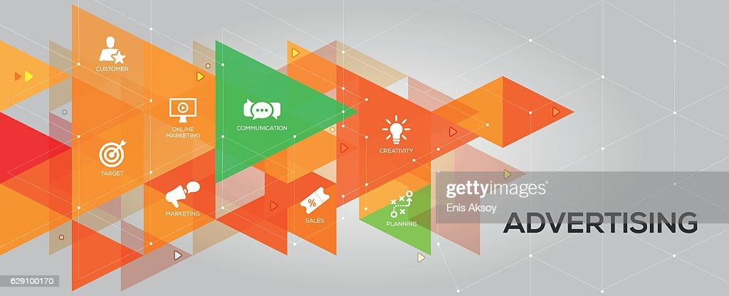 Advertising banner and icons : stock illustration