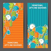 Advertising banners with promotional gifts and souvenirs