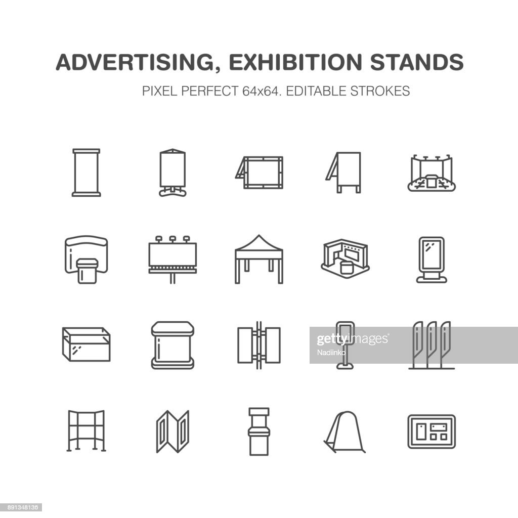 Advertising exhibition banner stands, display line icons. Brochure holders, pop up boards, bow flag, billboard folding marquees promotion design elements. Trade objects signs. Pixel perfect 64x64