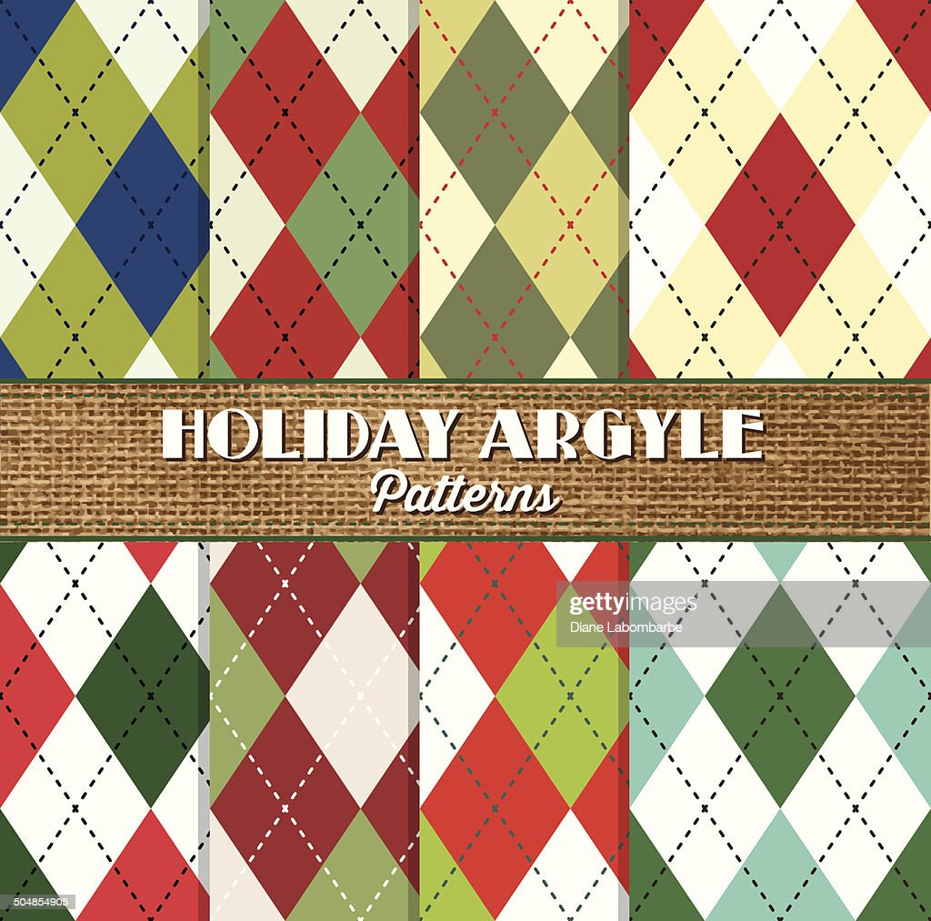 Advertising for eight argyle patterns with holiday colors