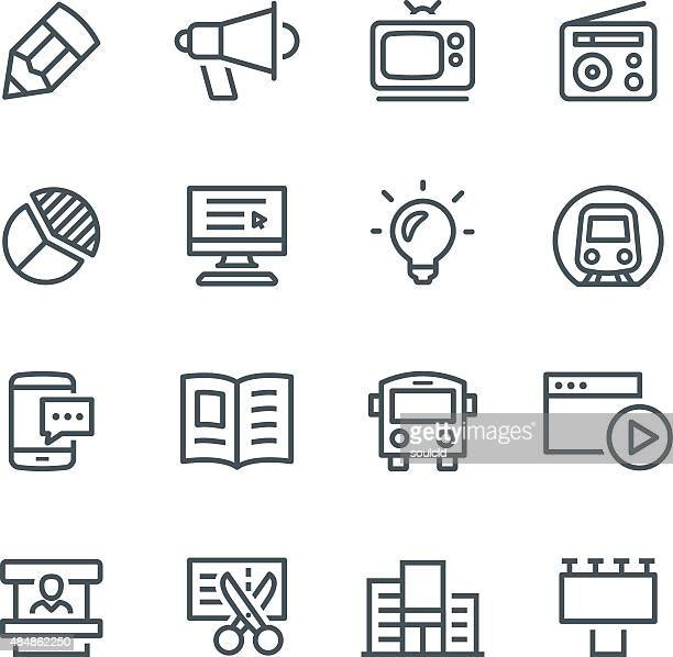 advertising icons - magazine stock illustrations