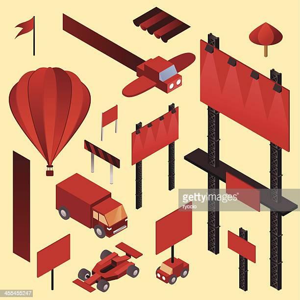 ilustrações, clipart, desenhos animados e ícones de elementos de publicidade isométricos - fórmula 1