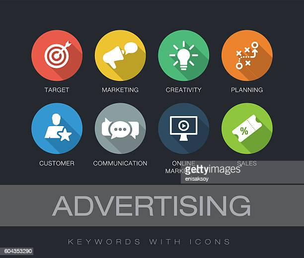 advertising keywords with icons - online advertising stock illustrations, clip art, cartoons, & icons