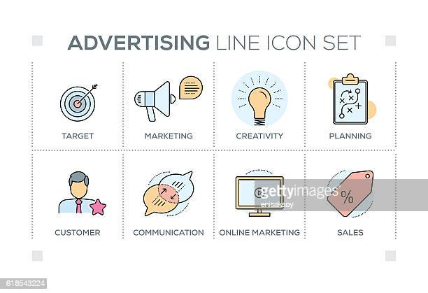 advertising keywords with line icons - online advertising stock illustrations, clip art, cartoons, & icons
