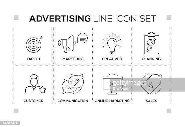 advertising keywords with monochrome line icons - online advertising stock illustrations, clip art, cartoons, & icons
