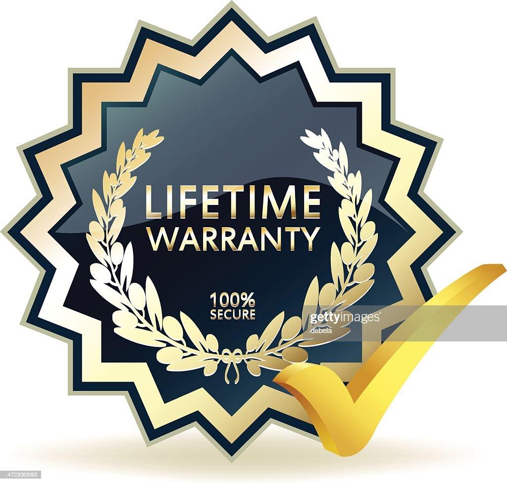 Advertising Lifetime Warranty Badge : stock illustration