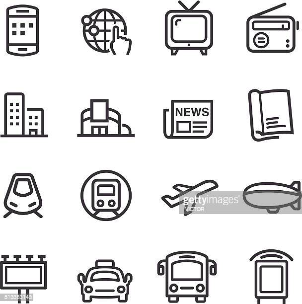 advertising media icons - line series - magazine stock illustrations
