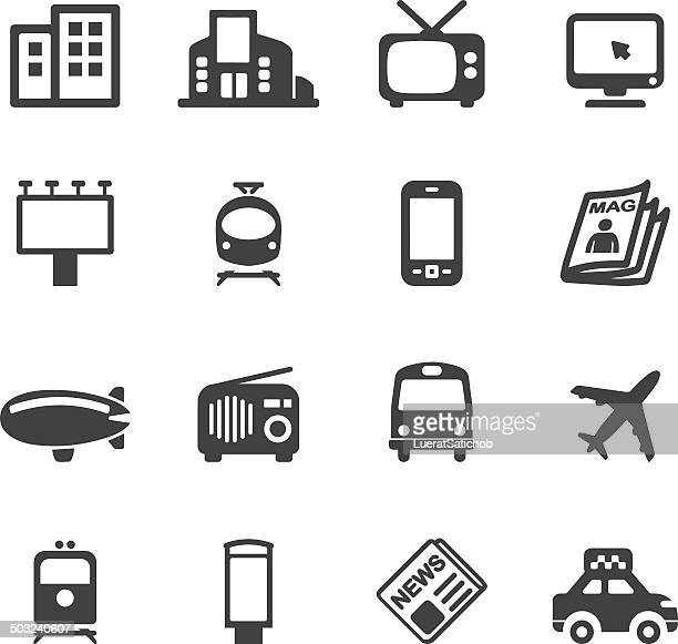 advertising media silhouette icons | eps10 - television industry stock illustrations