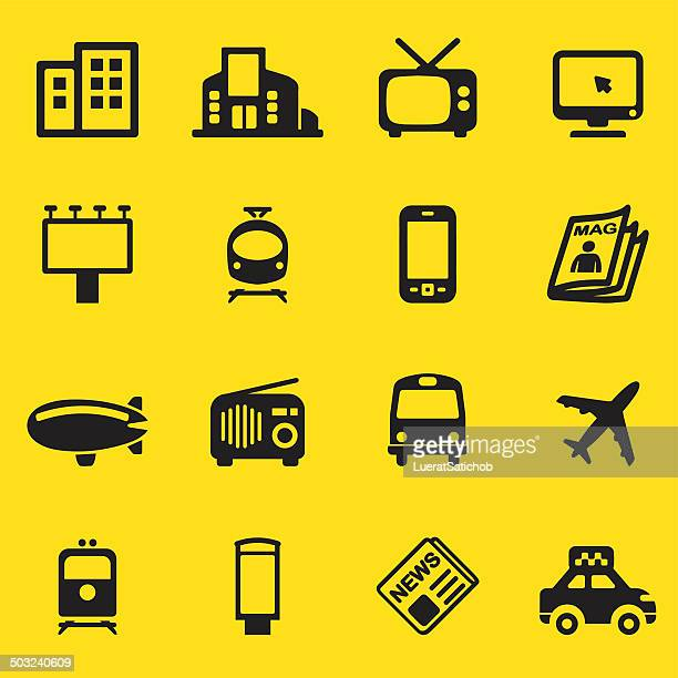 advertising media yellow silhouette icons| eps10 - audio equipment stock illustrations, clip art, cartoons, & icons