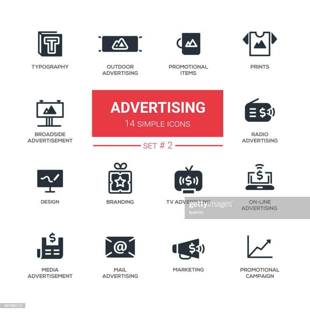 Advertising - modern simple icons, pictograms set
