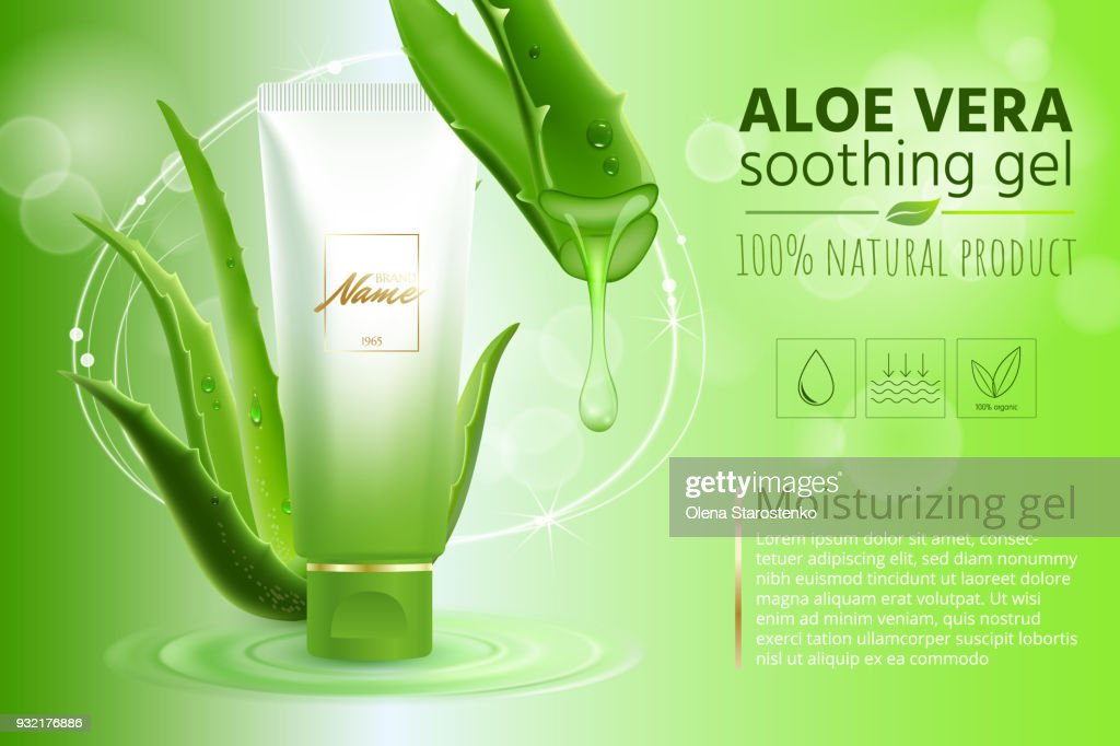 Advertising poster for cosmetic product for catalog, magazine. Vector design of cosmetic package.Moisturizing cream, gel, body lotion with aloe vera extract . Vector illustration with isolated objects