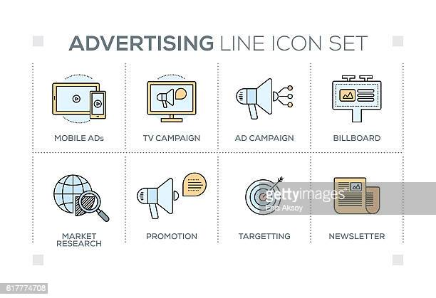 Advertising & Promo keywords with line icons