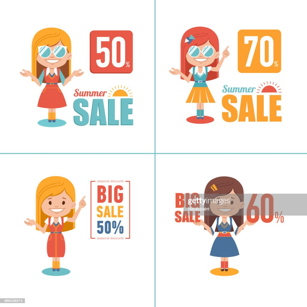 Advertising shopping illustrations with girl characters. Big summer sale banner. Big sale 70. Seasonal sale.