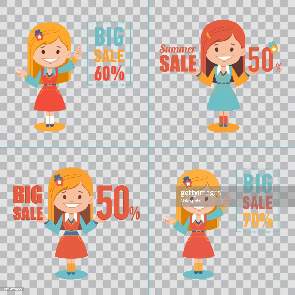 Advertising shopping illustrations with girl characters on transparent background. Big summer sale banner. Big sale 50