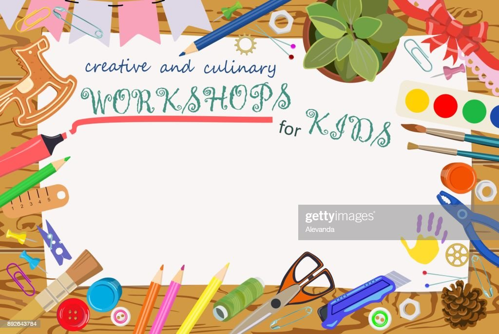 Advertising template: handmade and creative classes for children. Banners. Vector