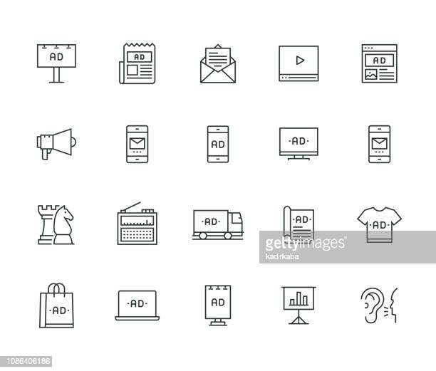 advertising thin line series - commercial sign stock illustrations