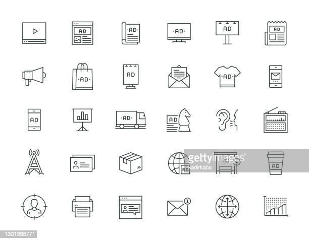 illustrations, cliparts, dessins animés et icônes de publicité thin line series - abribus