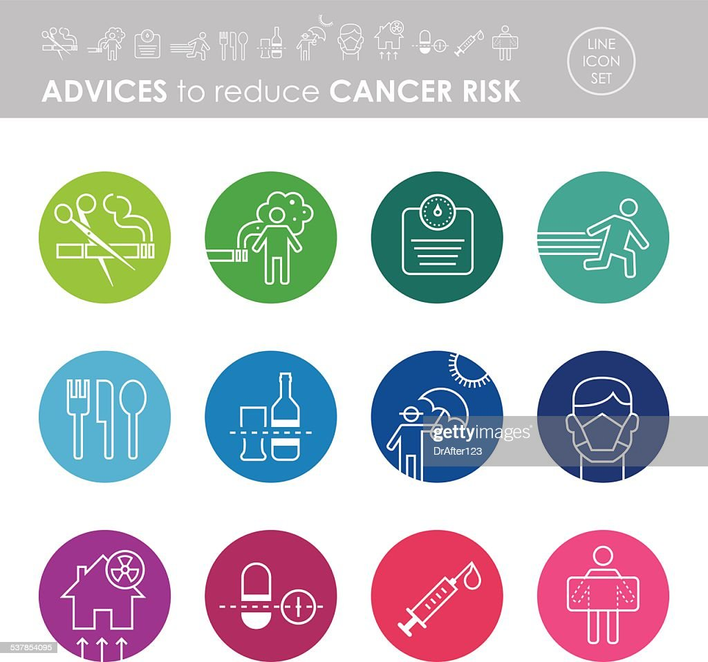 Advices To Reduce Cancer Risk Icon Set