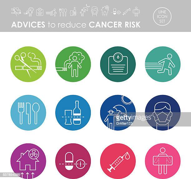 advices to reduce cancer risk icon set - pap smear stock illustrations, clip art, cartoons, & icons