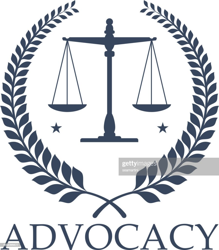 Advocacy legal center vector icon justice scales