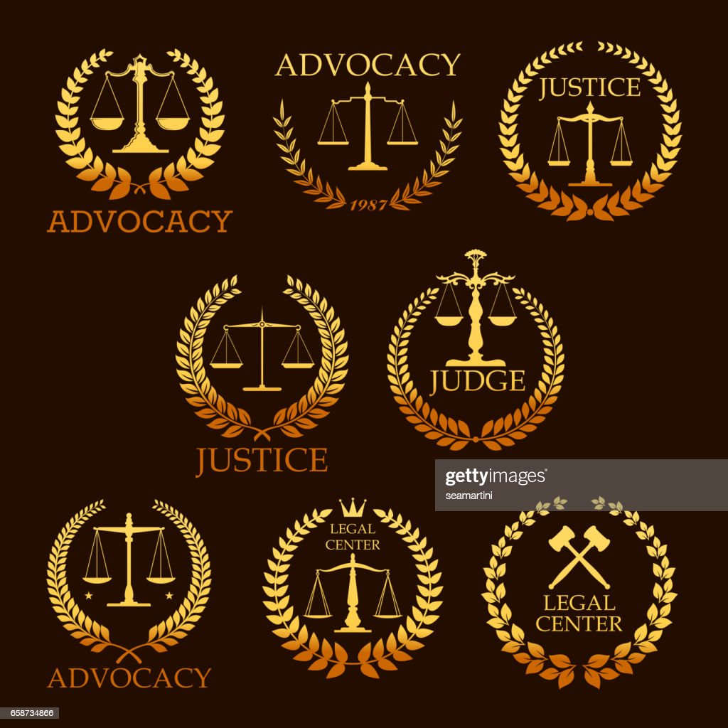 Advocacy or lawyer vector gold heraldic icons