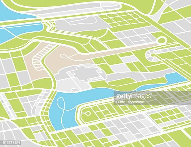 ilustrações, clipart, desenhos animados e ícones de vista aérea cidade do mapa - mapa de rua
