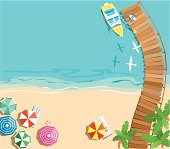 Aerial illustration of a colorful beach background