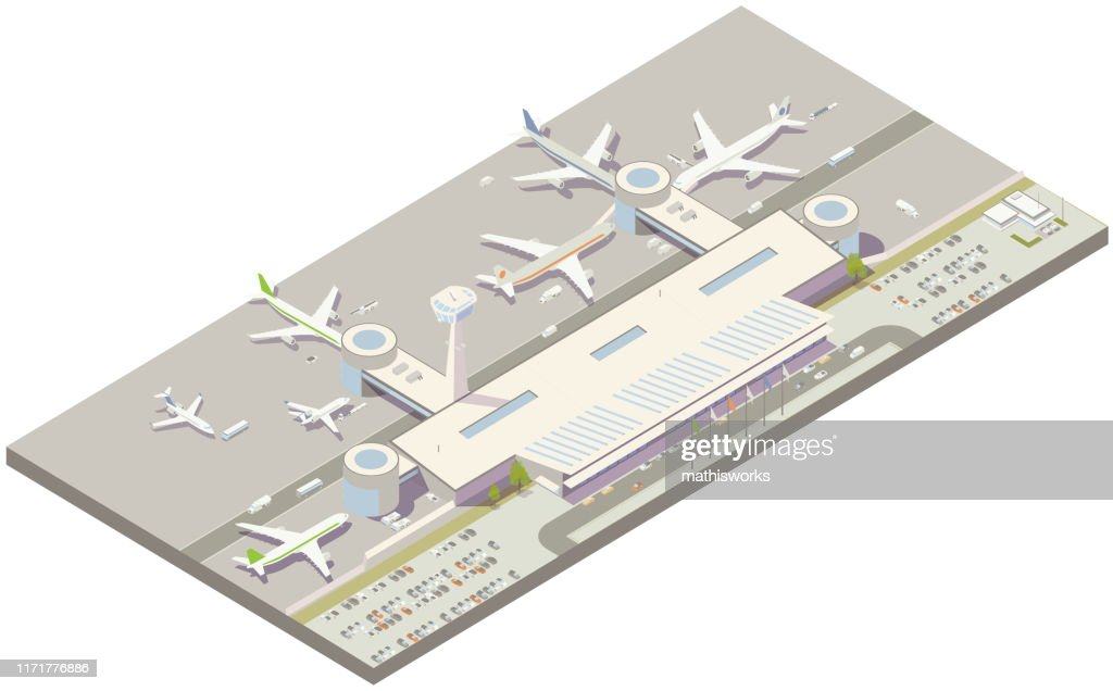Aerial isometric airport terminal : stock illustration