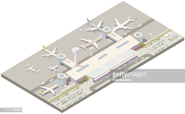 aerial isometric airport terminal - mathisworks vehicles stock illustrations