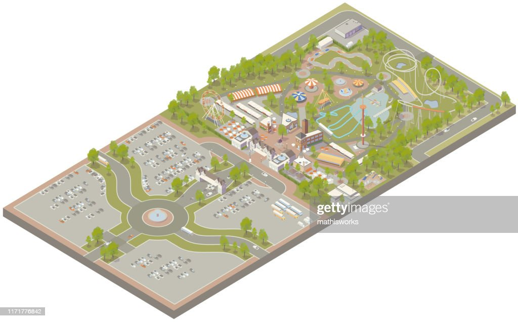 Aerial isometric amusement park : stock illustration
