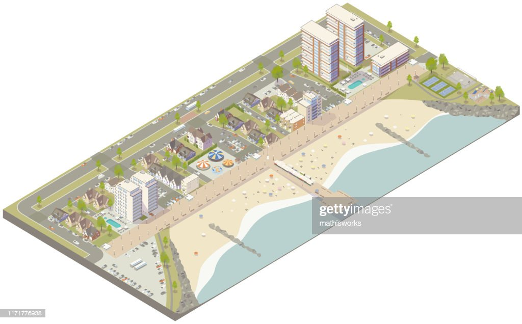 Aerial isometric beach town : stock illustration