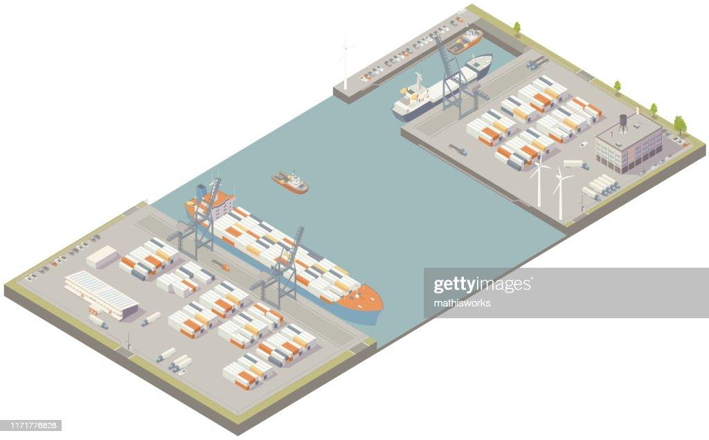 Aerial isometric cargo port : stock illustration